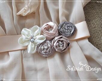 Bridal Sash Belt in Ivory, Beige,Taupe, Cream Peach,Champagne- Floral Bridal Sash, Satin Rosette Flower Sash Belt by Selinish