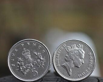 Boutons de manchette... 1991 Britannique 5 pence... Boutons de manchette de la Grande Bretagne... Pièce de monnaie manchette liens... boutons de manchette en argent sans nickel... Super État