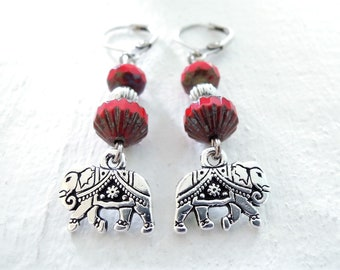 Silver Elephant Earrings Indian Elephant Dangles Red Czech Glass Dangle Earrings Exotic Bohemian Fun Gift for Her Gift for Animal Lover