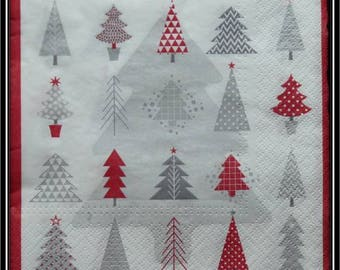 Red and gray trees napkin