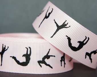 "10Yd Black Gymnastics 7/8"" Lt Pink Grosgrain Ribbon"