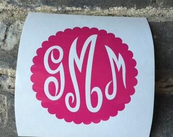 Circle Monogram Vinyl Decal / Yeti Vinyl Sticker / Car Decal/ Monogram Vinyl Stickers/ Camp Trunk Decals