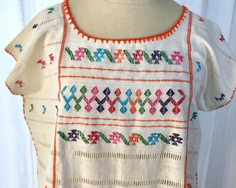 Handmade huipil, embroidered blouse