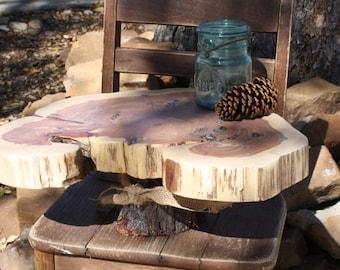 "Wood Slab Cake Stand, Tree slice + Stump, Inlaid gemstone, 17""x12""x1.75"" height 6"", Texas rustic woodsy wedding, party, event, dessert"