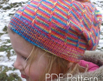 Banded Loom Hat PDF Knitting Pattern