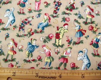 Fat Quarter Playtime Children Boy Girl Pierrot Jester Blue Pink Red Yellow Allover on Beige Novelty Fabric - Clothworks - OOP