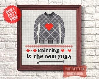 Modern cross stitch pattern beginner Simple room decor Knitters gift Quote cross stitch PDF Counted xstitch chart Funny cross stitch pattern