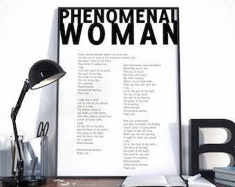Phenomenal Woman, Maya Angelou Quote, Maya Angelou Poem, Phenomenal Woman Poster, Poem Print, Choose your color