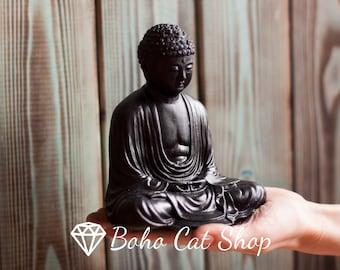 Shungite statue of meditating buddha | EMF protection, crystal healing, amulet, root chakra