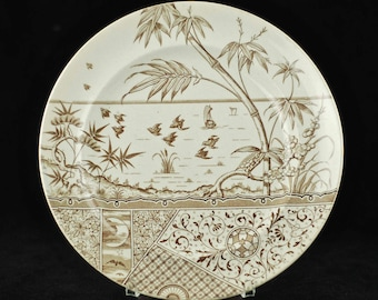 "Antique Gildea & Walker Late Mayers Aesthetic Movement ""Melbourne"" Pattern Brown Transferware Plate"