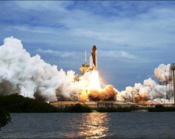 Poster, Many Sizes Available; Space Shuttle Atlantis Launches From Pad 39A Sts-135