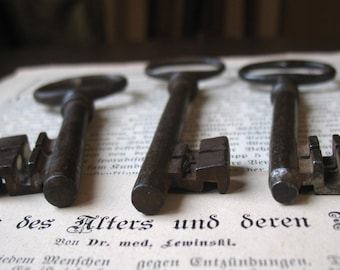 large antique keys, French castle skeleton keys, 3 large iron keys, large ornate gate keys, victorian key, genuine iron keys (M1)