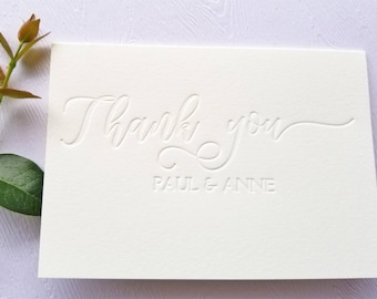 Personalized Thank You Cards Letterpress Calligraphy Blind Debossed
