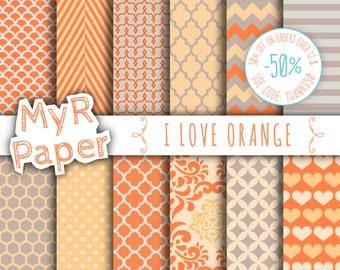 "Orange digital paper: ""I LOVE ORANGE"" pack of backgrounds and patterns with  chevron, polka dots, stripes, dots, damask, quatrefoil, hearts"