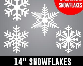 14 inch LARGE Snowflakes - Retail Shop Windows, House Windows, Christmas Decor, Winter Wonderland