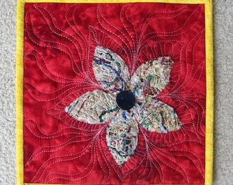 """Flower Mini Quilt Wall Art or Centerpiece - 10.25"""" square"""