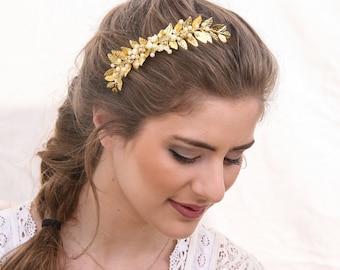 Wedding Decorative Comb Gold Leaf and Pearl Bridal Hair Comb, Grecian Leaf Wedding Hair Comb Brass Bridesmaids Hair Decoration, Laurel Leaf