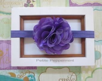 Purple Baby Flower Headband, Newborn Headband, Toddler Headband, Purple Girl Hair Bow, infant headband, baby hair bow, girl headband
