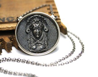 """Egyptian Revival Necklace, Dark Silver Jewelry, North African Necklace, Vintage Jewelry Gift, Antique Headdress - """"The Ancient One"""""""