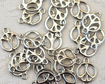 Peace link charms - Rhodium plated Pewter set of 24