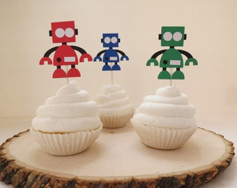 Robot and Gears - Cupcake Toppers - Set of 12 - Red, Blue, and Green