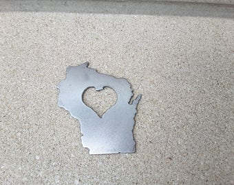 Wisconsin bottle opener with Heart