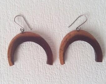 Vintage wooden earrings Horseshoe Retro earrings Wife jewelry gift Rustic wood earrings Vintage jewelry Vintage earrings Mother's Day gift