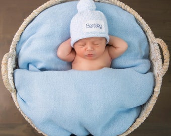 Baby Announcement, Preemie, Baby Boy, hat, Personalized, Newborn, Baby Shower, gift, Accessories, Hats, Caps, photo prop, newborn, new baby