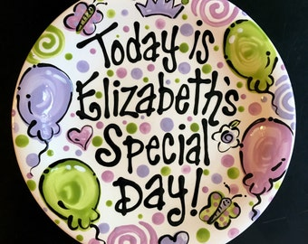 Personalized Birthday Plate - Purple and Green Personalized 8 Inch Ceramic Special Day Plate