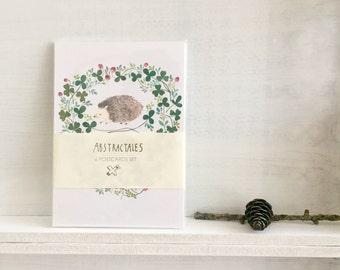 Postcard set, watercolour illustration postcard set, animal postcards, little animals in the meadow, animals and botanical postcard set