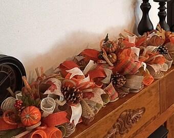 "36"" Fall Pumpkin Burlap Mantel Arrangement/Fall Pinecone Arrangement/Pumpkin Arrangement/Burlap Pumpkin Arrangement/Autumn Table Arrangement"