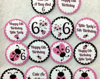 Set of 50/100/150/200 Personalized Ladybug 6th Birthday Party  1 Inch Confetti Circles