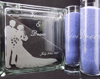 "Memorial Day Sale 40% OFF! Personalized Engraved 8"" Sand Ceremony Glass Block & 2 Glass Sand Pouring Containers."
