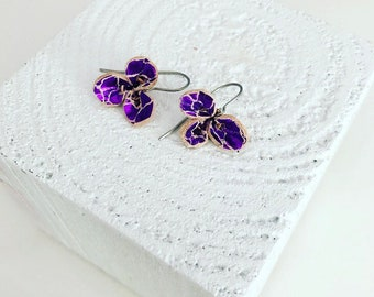 Metallic Magenta Leather Flower Earrings (small)