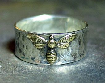 Biene-Ring in Sterling Silber - Biene mein Schatz