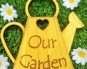 Our Garden - A Wooden Watering Can themed Garden Sign