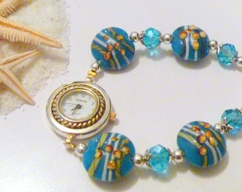 Handcrafted Blue  Lentil Lampwork Beaded and Crystal Beaded Ladies Watch