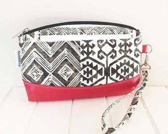Wristlet Pouch, Zippered Pouch, Wristlet w/Strap, Faux Leather & Fabric Wristlet, Handmade Wristlet, Aztec Fabric, Clematis Wristlet