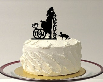 MADE In USA, With Pet Cat Personalized Wedding Cake Topper with Your Initials & Last Name Silhouette Cake Topper Bride + Groom + Pet Cat