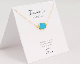 Turquoise Slice Necklace, Bezel Set Turquoise Necklace in Gold, Gold Pendent Necklace, Gold Turquoise Necklace(0003-1N)