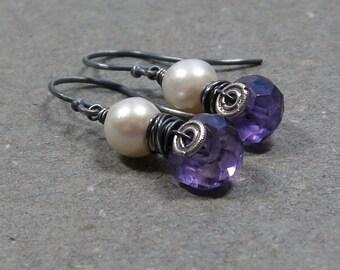 Purple Amethyst Earrings February, June Birthstone Pearl Oxidized Sterling Silver Earrings Wire Wrapped