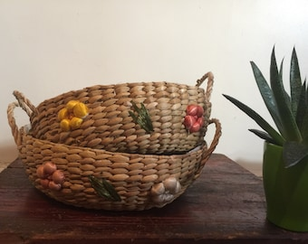 Vintage Woven Raffia Straw Baskets Set of Two| Boho Chic Decor| Woven Raffia Storage Baskets| Boho Chic Storage| Woven Straw Basket