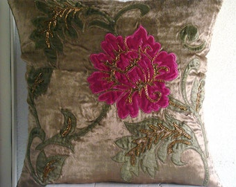 Decorative Throw Pillow Covers 16x16 Inch Choco Velvet Applique Embroidered Pillow Covers Accent Pillows Couch Sofa Pillow- Applique Blossom