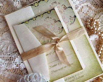 Vintage Romantic Lace Wedding Invitation SAMPLE by avintageobsession on etsy