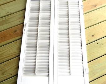 Vintage Wood Shutters White Wooden Shutters Farmhouse Home Decor Vintage Window Treatment Pair of White Shutters
