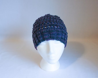 Eyelet Hat knitting PATTERN - warm cozy delicate lovely knit stocking hat - permission to sell finished items