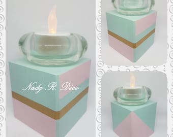 Square candle holder wood recycled graphic green pink gold - artisan handmade