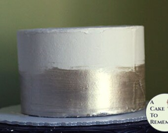 "6"" round silver banded fake cake for photo shoots and home staging. Faux cake wedding cake cupcake display, food prop. Engagement prop."