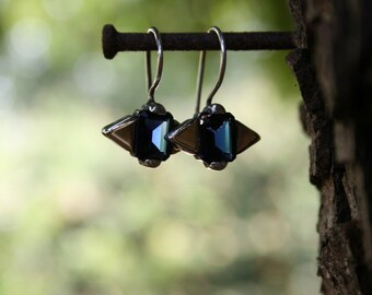 Sterling Silver Earrings, Blue Shapphire Earrings, Birthstone Silver and Gold Earrings, Handmade 925 Silver Earrings, Sterling Earrings