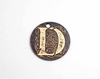 Small copper D charm, flat round handmade etched metal letter jewelry supply, 22mm